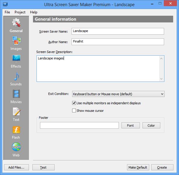Screenshot af Ultra Screen Saver Maker