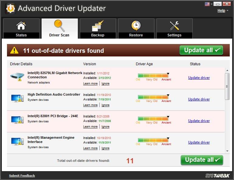 Screenshot af Advanced Driver Updater