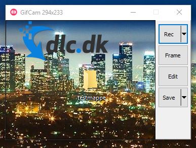 Screenshot af GifCam
