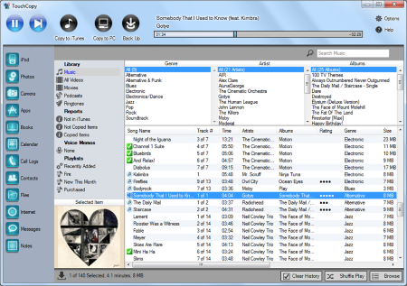 Screenshot af TouchCopy (Mac)