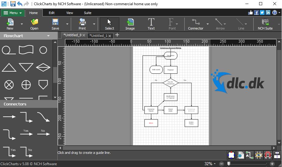 Screenshot af ClickCharts Diagram & Flowchart Software