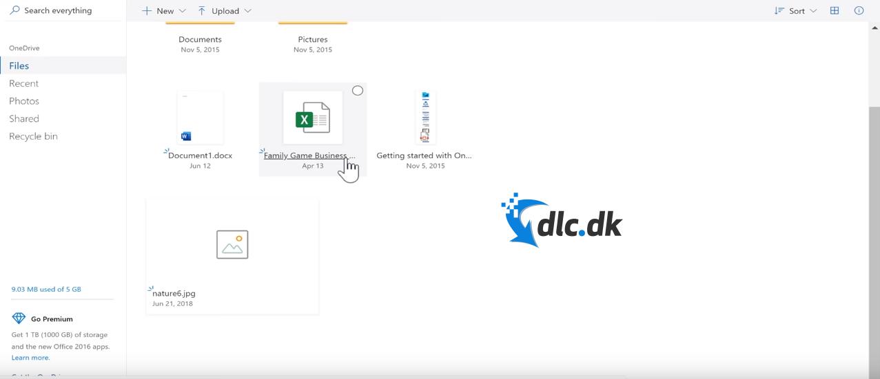 Screenshot af Microsoft OneDrive