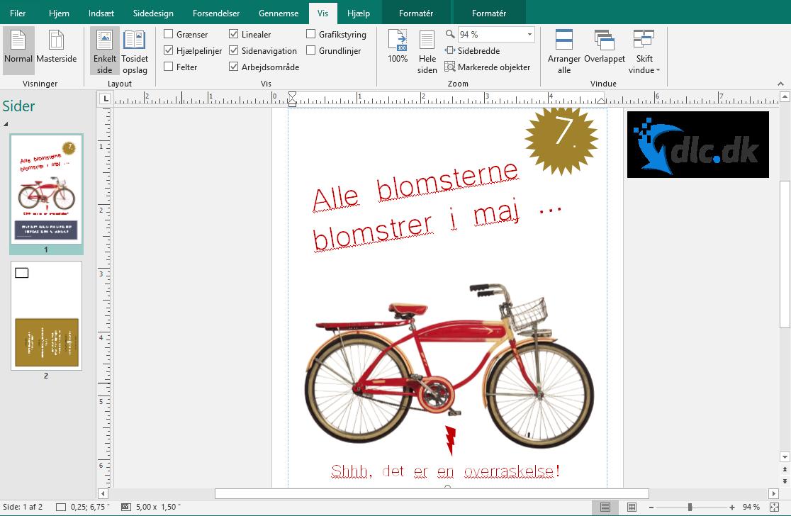 Screenshot af Microsoft Publisher