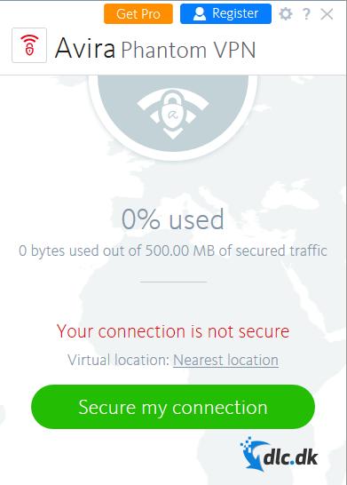 Screenshot af Avira Phantom VPN
