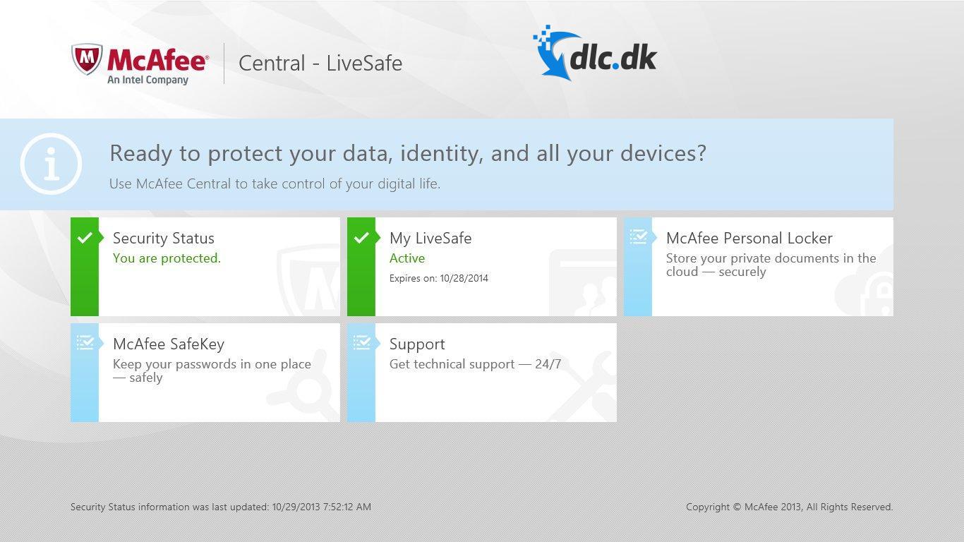 Screenshot af McAfee LiveSave