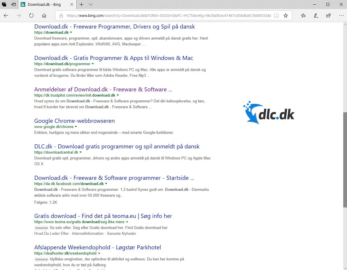 Screenshot af Microsoft Edge