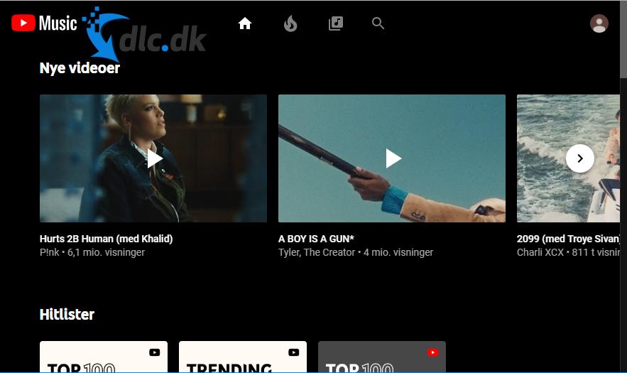Screenshot af YouTube Music