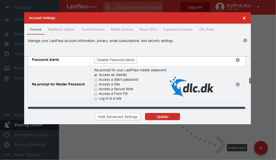 Screenshot af Lastpass
