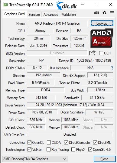 Screenshot af GPU-Z