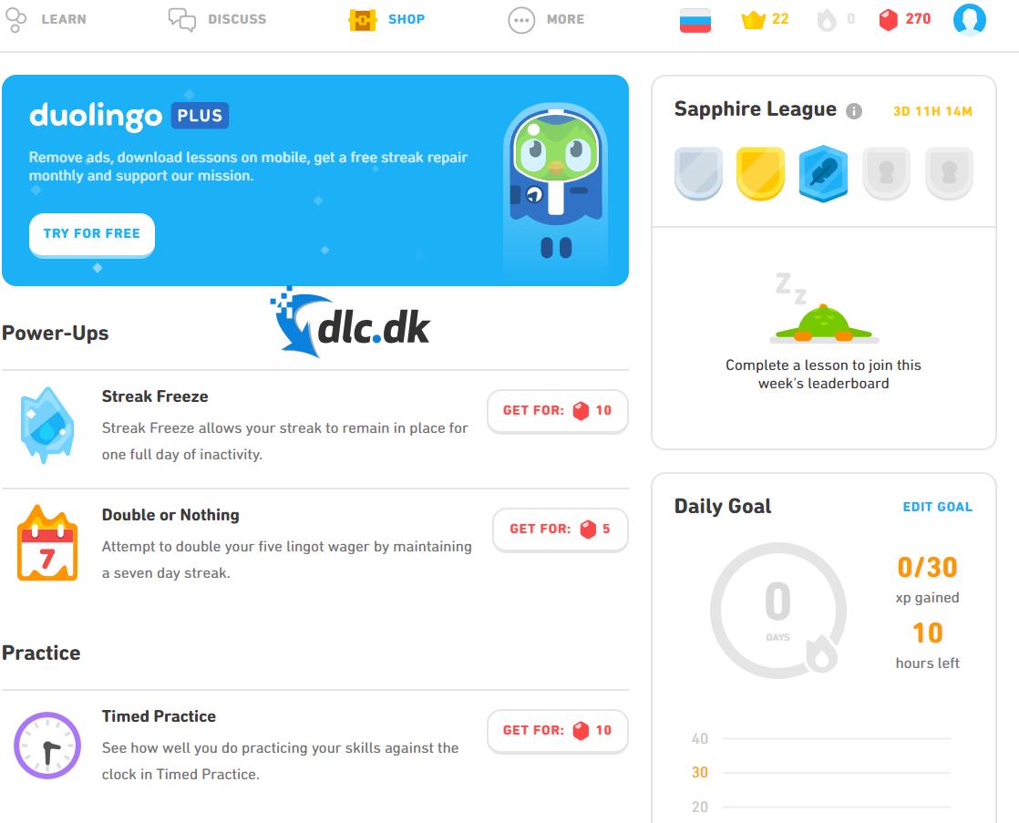 Screenshot af Duolingo