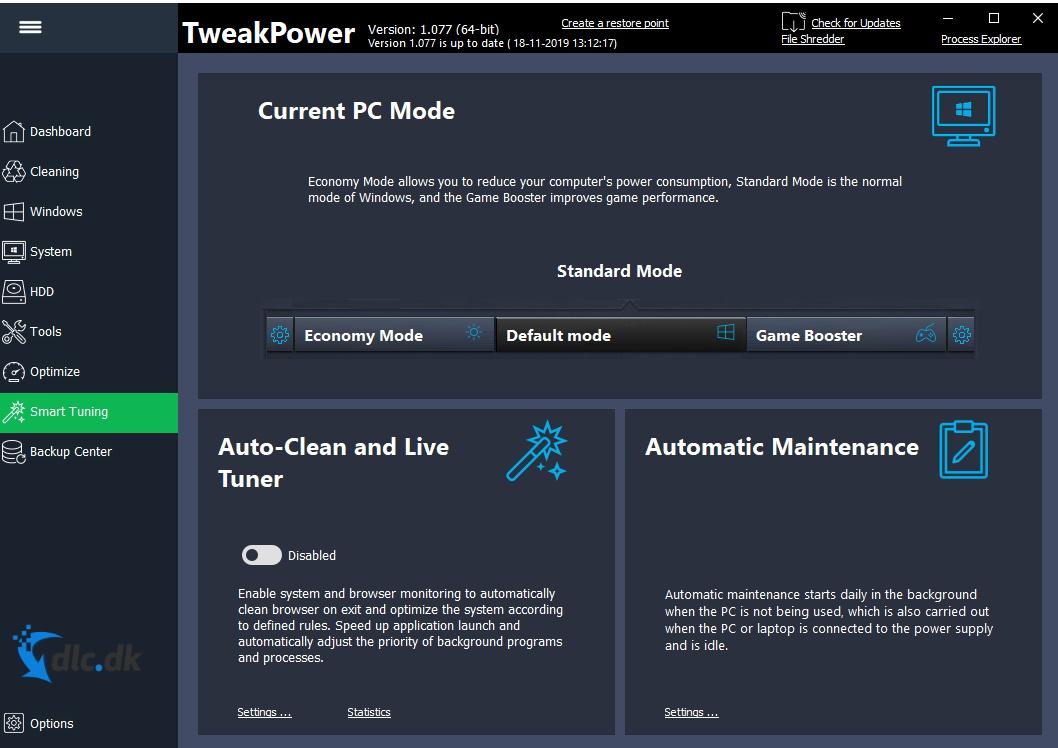 Screenshot af TweakPower
