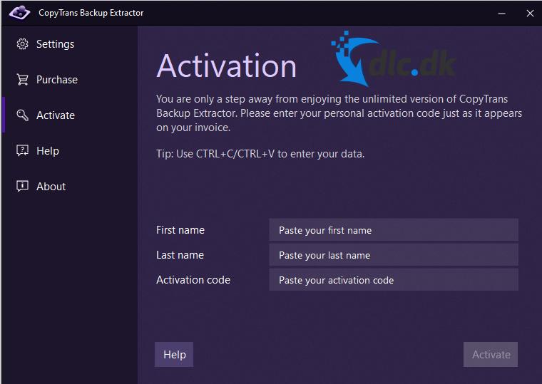 Screenshot af CopyTrans Backup Extractor