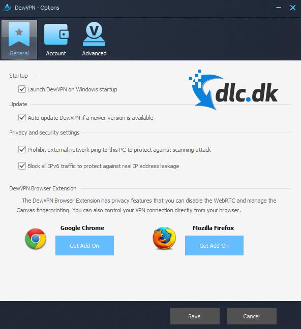 Screenshot af DewVPN