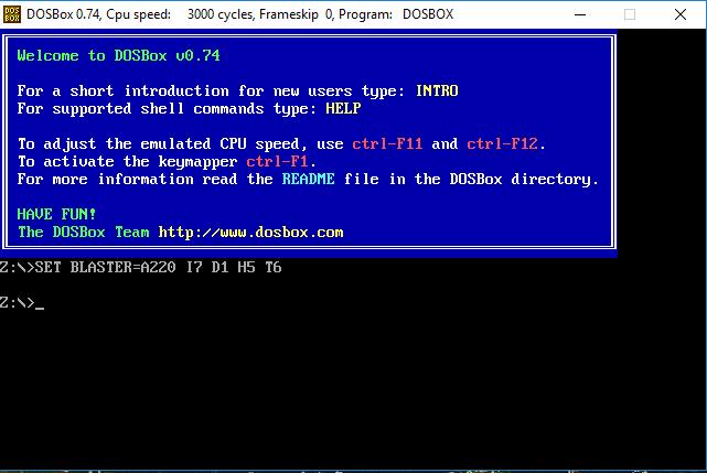 Screenshot af DOSBox