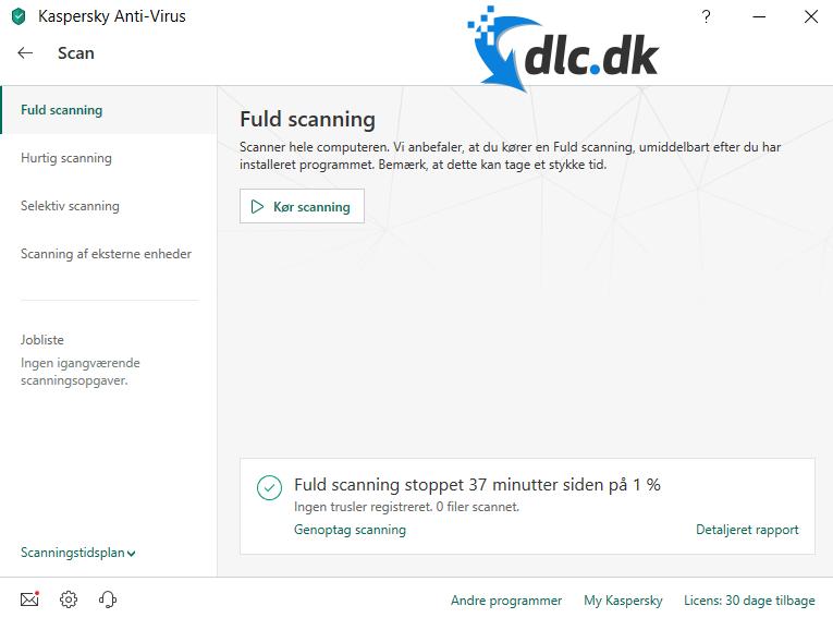 Screenshot af Kaspersky Anti-Virus