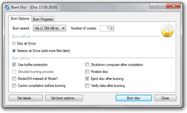 Screenshot von CDBurnerXP