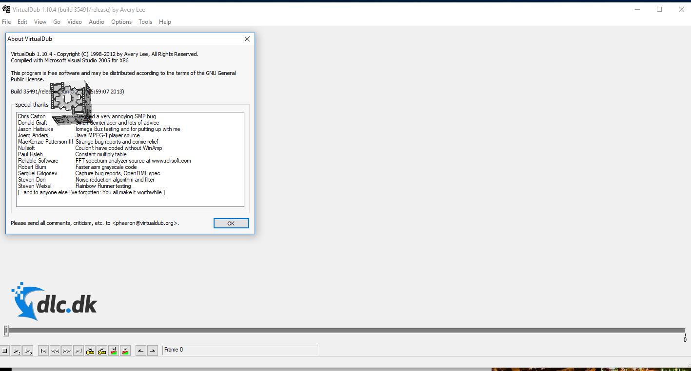 Screenshot af Virtual Dub