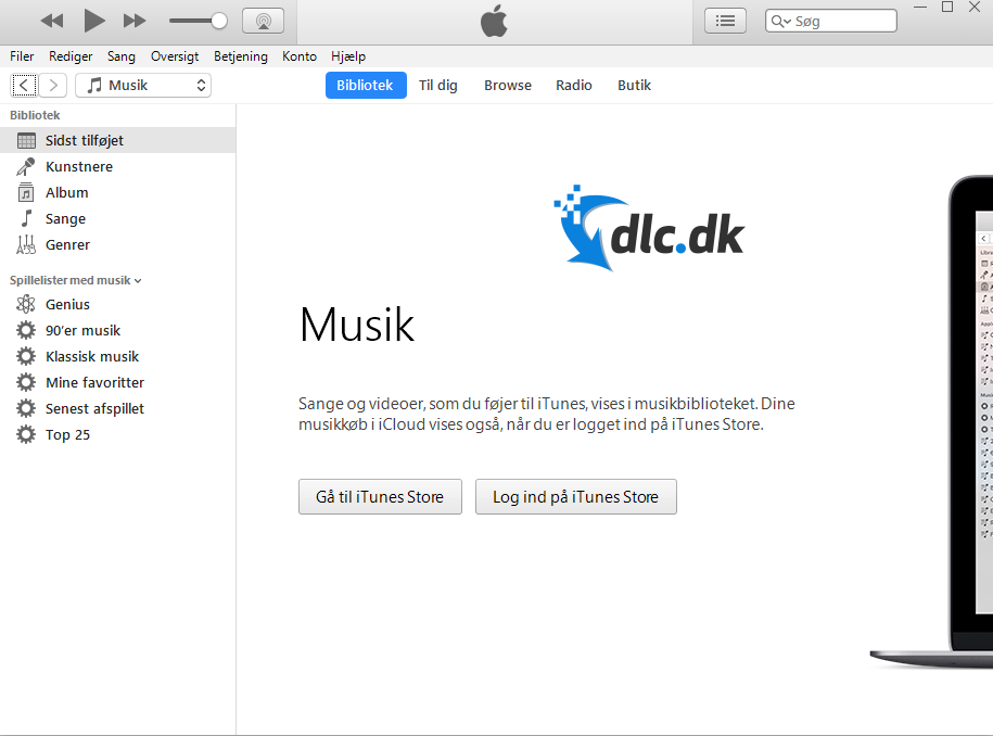 Screenshot af iTunes für Windows
