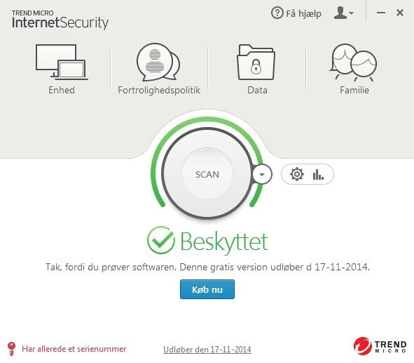 Screenshot af Trend Micro™ Internet Security