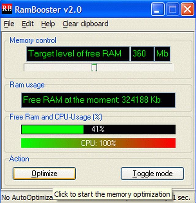 Screenshot af RAMBooster