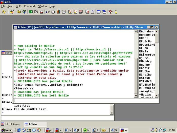 Screenshot af mIRC