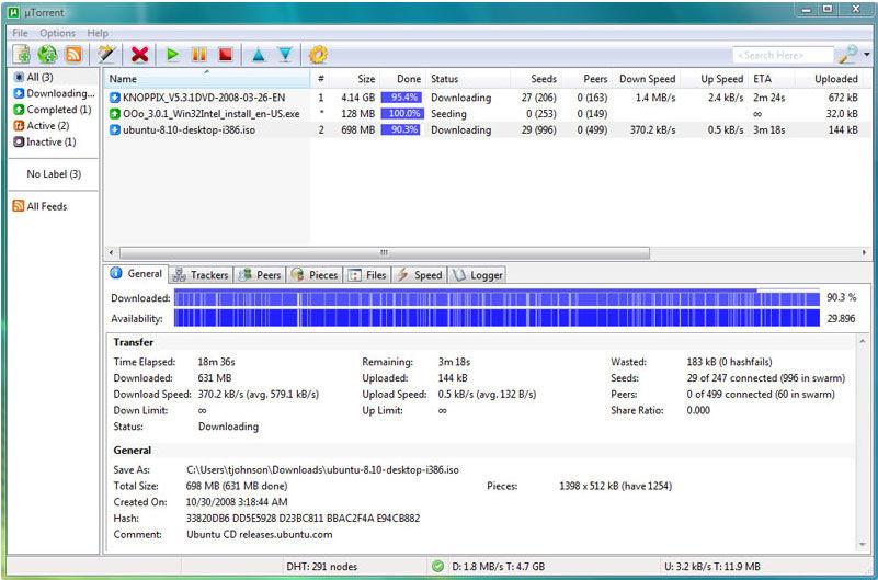 Screenshot af uTorrent (µTorrent)