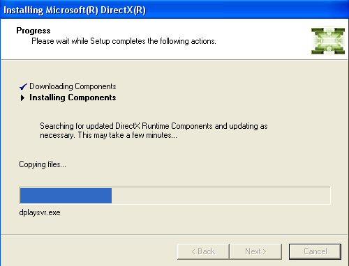 Screenshot af Microsoft DirectX