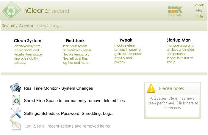 Screenshot von nCleaner