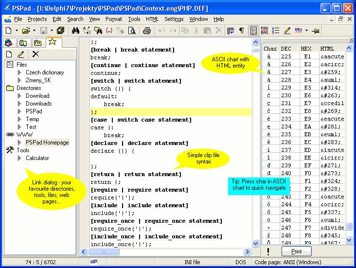 Screenshot af PSPad