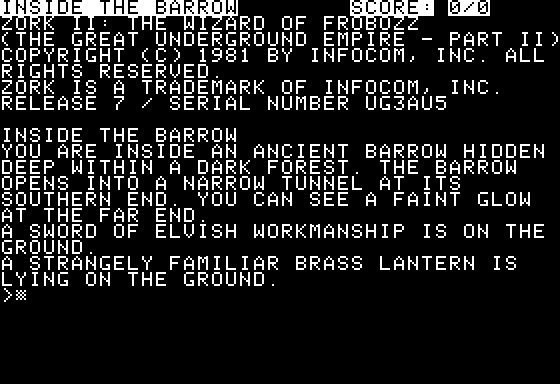 Screenshot af Zork 2 - The Wizard of Frobozz