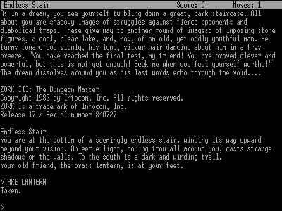 Screenshot af Zork 3 - The Dungeon Master