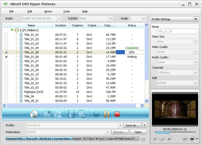 Screenshot af Xilisoft DVD Ripper Platinum