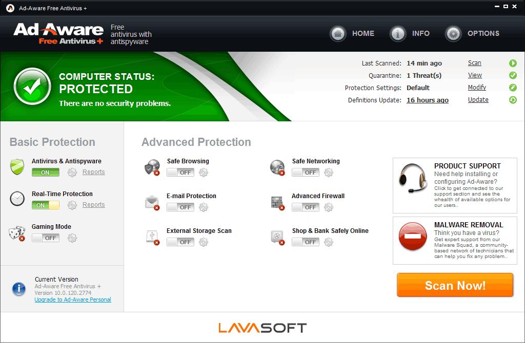 Screenshot von Ad-Aware Free Antivirus+