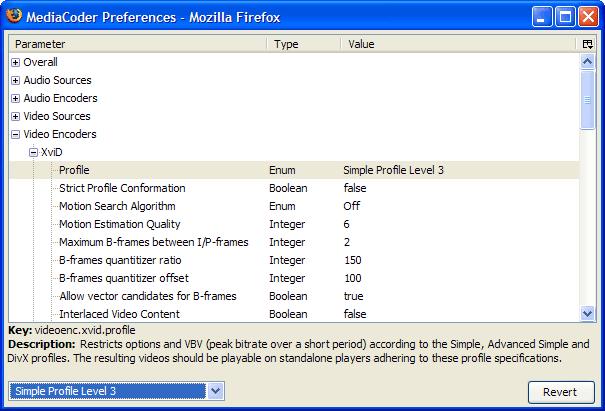 Screenshot af MediaCoder