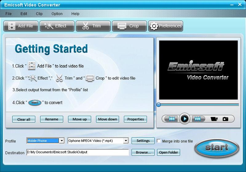 Screenshot af Emicsoft Video Converter+DVD Ripper Ultimate