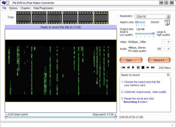 Screenshot af PQ DVD to iPod Converter