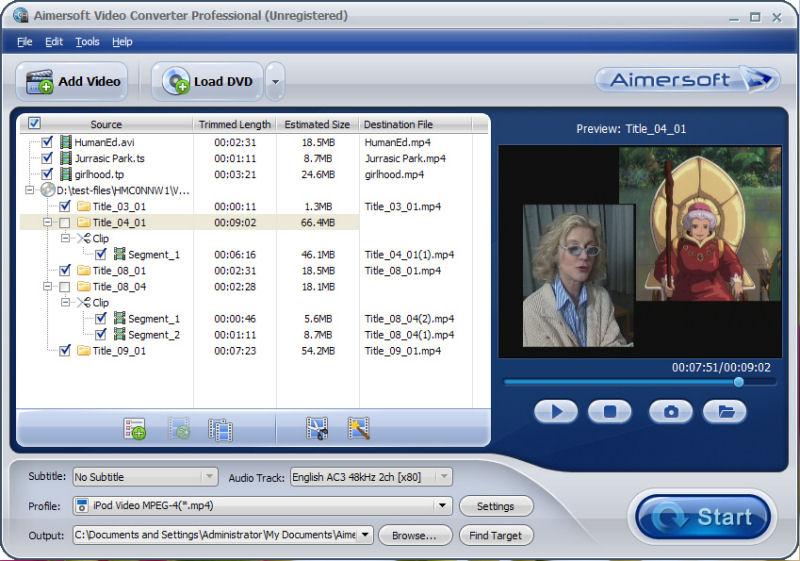 Screenshot af Aimersoft Video Converter Pro