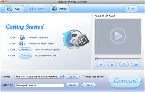 Screenshot af Pavtube HD Video Converter