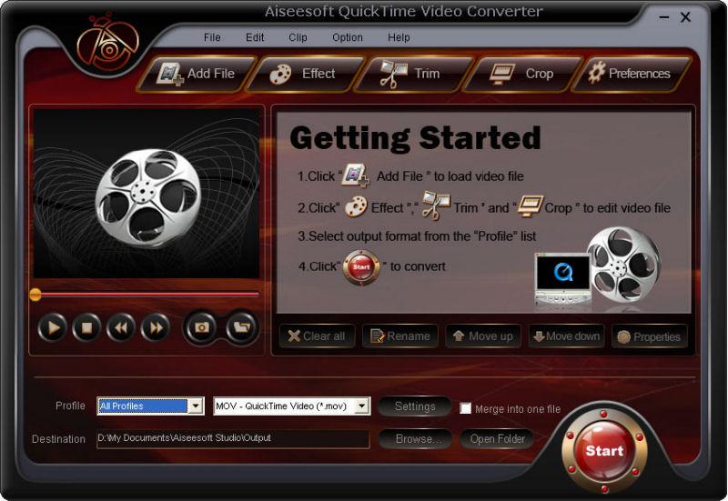 Screenshot af Aiseesoft QuickTime Video Converter