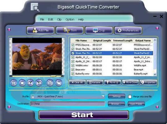 Screenshot af Bigasoft QuickTime Converter