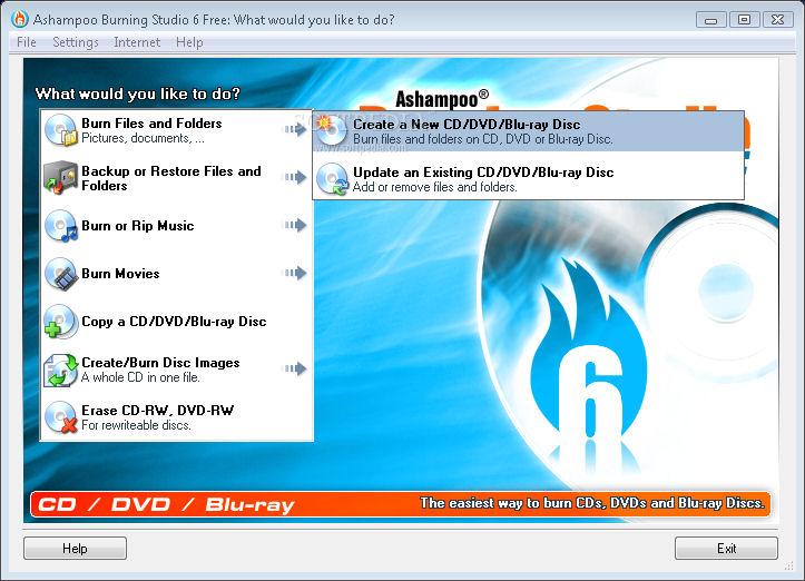 Screenshot von Ashampoo Burning Studio Free