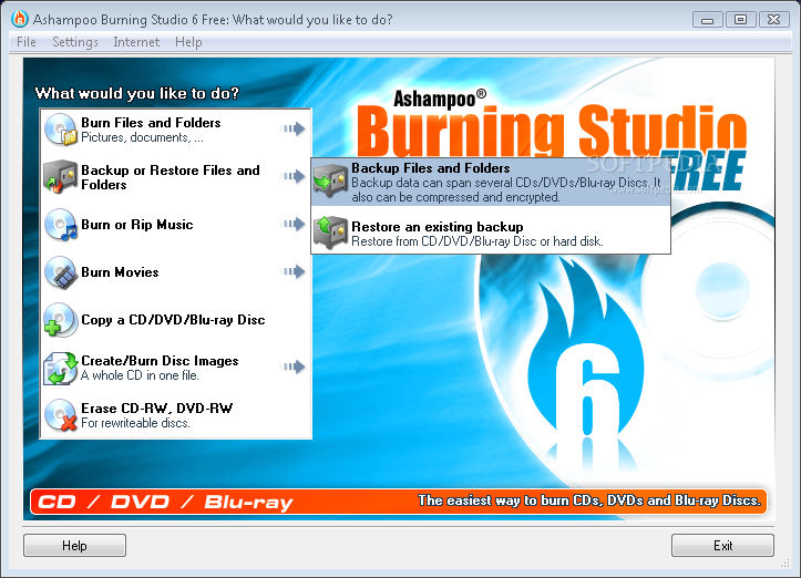 Screenshot von Ashampoo Burning Studio Free