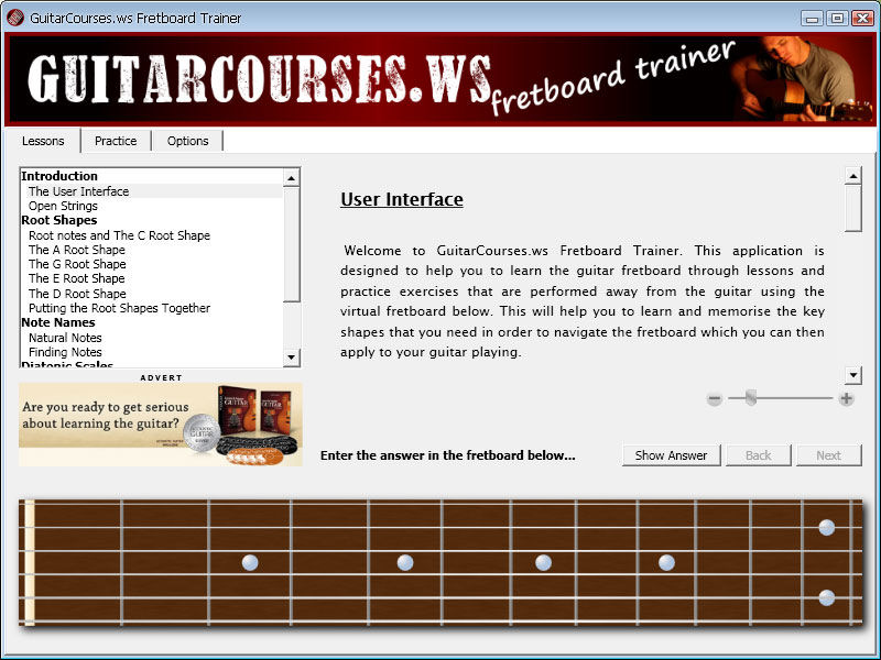 Screenshot af GuitarCourses.ws Fretboard Trainer