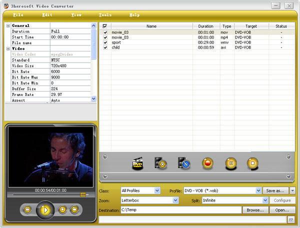 Screenshot af 3herosoft Video Converter