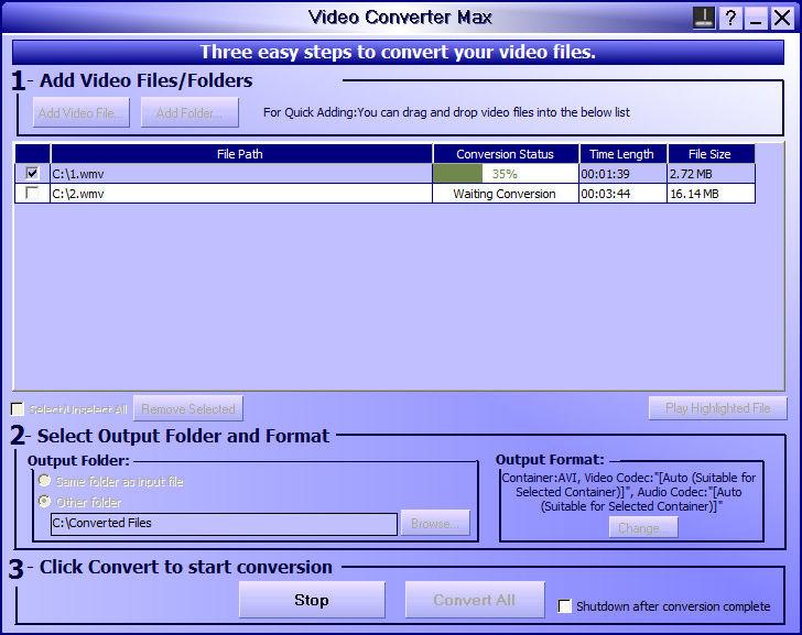 Screenshot af Audioshareware Video Converter Max