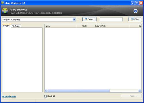 Screenshot af Glary Undelete