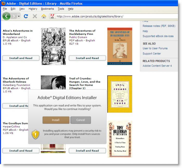 Screenshot af Adobe Digital Editions