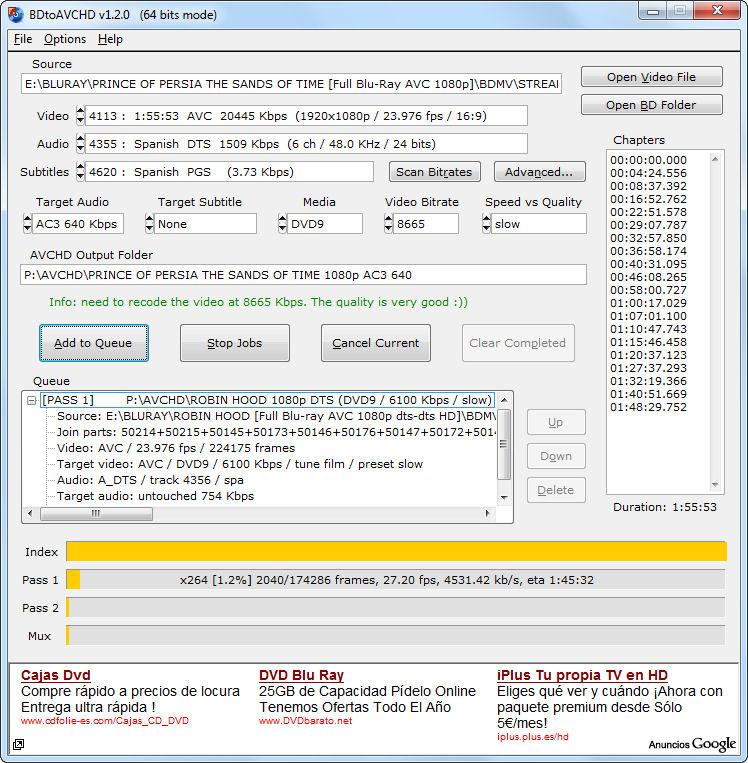 Screenshot af BDtoAVCHD