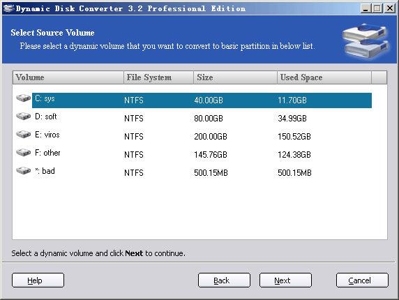 Screenshot af Dynamic Disk Converter Professional Edition