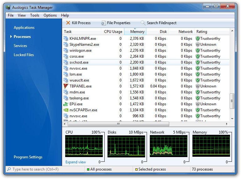 Screenshot af Auslogics Task Manager